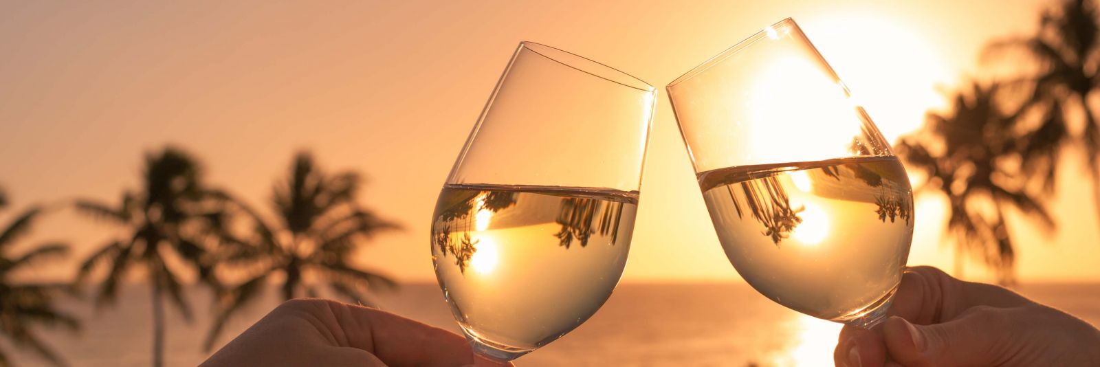 Drinking wine by sunset on the beach
