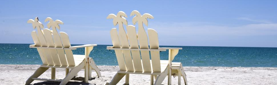 Sunny day with beach chairs on Captiva Island