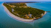 view of sanibel island from an aerial perspective with the gulf of mexico surrounding
